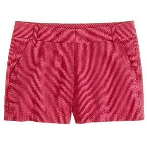 J.CREW Red Striped 100% Cotton Seersucker Shorts
